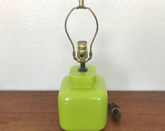 Mod green ceramic cube lamp | Vintage Lighting