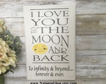 I Love You to the Moon and Back, Kids Room Decor, Baby Room Decor, I Love You, Wedding Sign, Children's Room Decor, Nursery Decor, Wood Sign