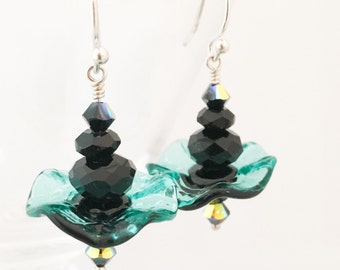 Ruffle Glass Earrings - Aqua Black Glass Earrings - Wavy Glass Earrings - Wavy Disc Earrings