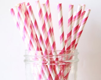 Pink Party Straws, Pink Paper Stripe Straws 25, Wedding Bar Straw, Pink Wedding Decor, Pink Straw, Party Straws, Paper Straw