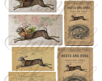 TiffanyJane-Run Away Rabbits Collage Sheet--Instant Download Rabbits Collage Sheet for art tags embellishments paper art