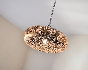 Handmade Traditional Moroccan Lamp, Oriental Arabic Pattern, Golden Copper,