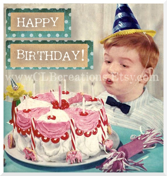 Items Similar To Happy Birthday Boy 8x8 Altered Vintage Digital Image For Invitations Cards Scrapbooks And More On Etsy