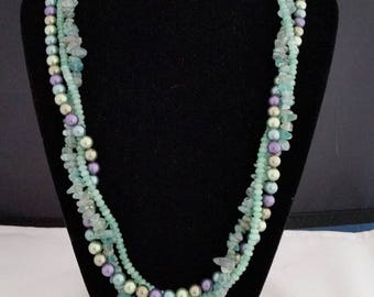 """21"""" 3 strand pearl, apatite and chalcedony necklace"""