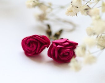 Dark Red Rose Earrings, Pink Burgundy Rose Jewelry, Dangle Flower Earrings, Floral Gift for Her, Rose Jewelry