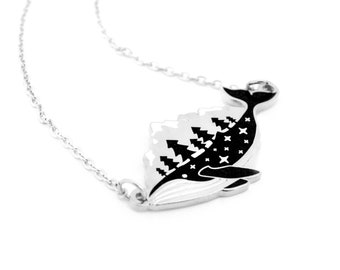 Silver Whale-derness Necklace (humpback whale necklace cute whale jewelry ocean necklace cloisonne nautical wilderness nature lover)