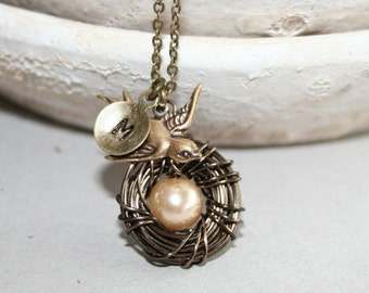 Bird Nest Necklace with Custom Initial, One Egg Nest, Personalized Bird Nest Necklace with Initial, Mothers Necklace, Monogram Nest