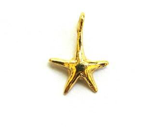 SALE  Small Vermeil Starfish Charm 16 mm 2 pcs CH205