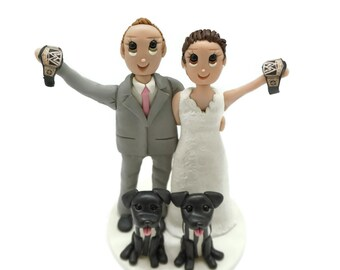Custom WWE Wrestling Wedding Cake Topper with 2 Large Ref Dogs