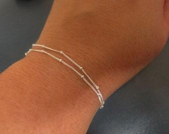 Stacking bracelet set, Layered bracelet, silver bracelet set, minimalist bracelet, thin bracelet