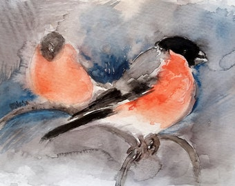 Bullfinches. Watercolour painting. Birds painting, Wildlife, Nature, Gift idea