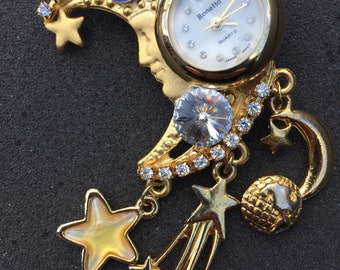 Vintage Jewelry Bonetto Moon with Dangling Stars Pin Brooch & Clock Watch