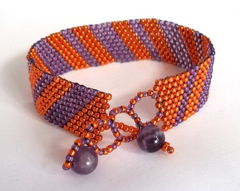 Handmade Orange and Purple Striped Bracelet with Amethyst Gemstone Clasp and Accent