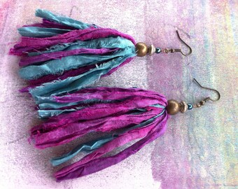 Blue and Purple Sari Silk Earrings, Hippie Boho Style Jewelry, Sari Ribbon Earrings