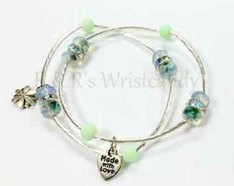 Beaded Bracelet, Lotus Charm Bracelet, Bar Bracelet, Mint,Stretch, Handmade, Custom, Beaded Jewelry, Minimalist Jewelry
