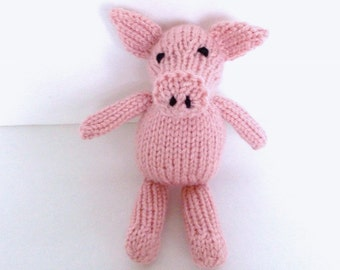 Hand Knit Little Pink Pig, Newborn Baby Soft Toy, Boy Girl Kids Stuffed Farm Animal, Nursery Photo Prop, Desk Buddy Companion