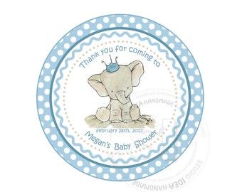 "Custom Elephant Printable Baby Shower Tag- 2.5"" Printable Cute Elephant with Crown-Baby Shower, Birthday Thank you Tags- Digital file"