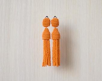 Beaded Tassel Clip-On Earrings Light Orange