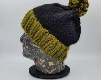 Pom Pom Beanie, Color Block Beanie, Winter Hat, Hat for Women, Hat for Men, Acrylic Hat, Wool Hat, Bobble Hat, Chunky Beanie, Camo