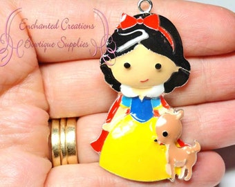 "2"" Snow White With Forest Deer Inspired Charm, Chunky Pendant, Keychain, Bookmark, Zipper Pull, Chunky Jewelry, Purse Charm"
