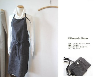 MADE IN JAPAN and Charcoal Grey linen linen apron 100%