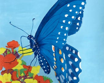 Blue Butterfly print on stretched canvas. My original was acrylic on canvas.