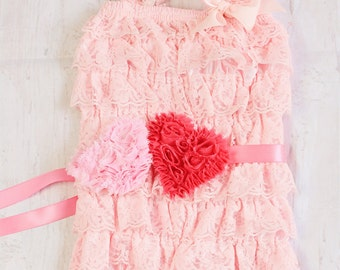 Valentines Day Outfit, First Valentines Outfit, Baby Girl Romper, Valentines Bodysuit, Pink Valentines Outfit
