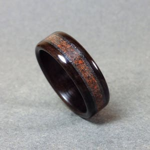 Ebony Bentwood Ring, Dinosaur Bone Fossil and Meteorite Dust Inlay, Men's Wood Ring, Woman's Wood Ring