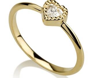 heart shape ring, heart diamond ring, vintage style ring, solitaire ring, milgrain ring, heart ring, engagement ring, heart diamond ring