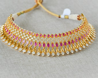Alia | Indian jewelry | Indian jewelry | meenakari kundan pearl gold jewellery choker Indian bridal necklace set