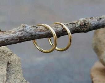 Tiny Gold Hoops, Tiny Gold Hoop Earrings, 14K Hoops Earrings Small Gold Hoop Earrings, Mens Hoop Earrings, Small Gold Hoops, Tiny Hoops 10mm