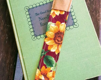 Reading is My Happy Place Sunflower Fabric Bookmark