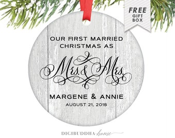 Lesbian Wedding Gift, Gay Marriage Ornament, First Married Christmas as Mrs and Mrs, Personalized Gift for Wife, Wedding Gift for Gay Couple