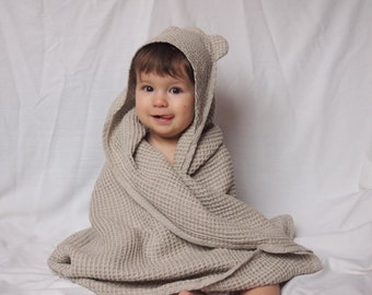 Linen Baby Towel, Baby Eco Towel, Baby Bath Towel, Baby Gift, 6 colors