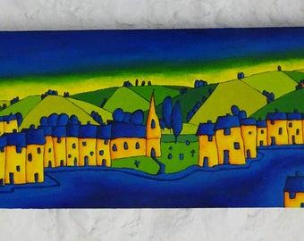"Original Landscape Painting Acrylic, Art Expressionist Painting Box Canvas 20""x8""x1.5"" Original Art Original Art Landscape Acrylic Painting,"