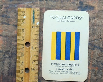 "Vintage Signal Card, WWII Era, Navy International Code Flag "" George G "" "" I require a pilot """
