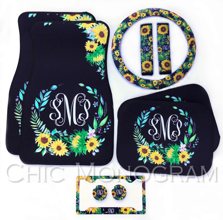 pin floor cute monogrammed pattern monogram new accessories car mats driver quatrefoil gift