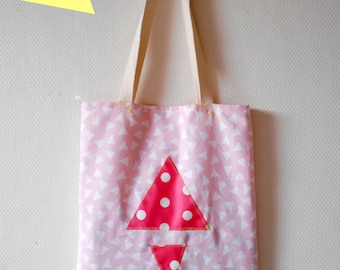 Bag Tote Bag printed ethnic pink and white, triangles and peas.