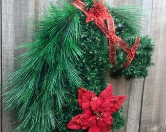 Horsehead wreath, Christmas wreath, Holiday, horse head wreath, horse wreath