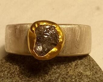 1.78 carat grayish rough raw diamond set in 22 k solid gold on brush silver band, engagement ring, wedding ring, statement ring, OOAK ring.
