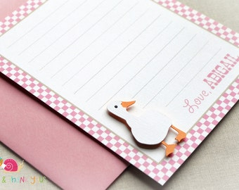 Vintage Farm Personalized Stationery · A2 FLAT · Pink Gingham · Coordinating Thank You Notes for Duck Invitation