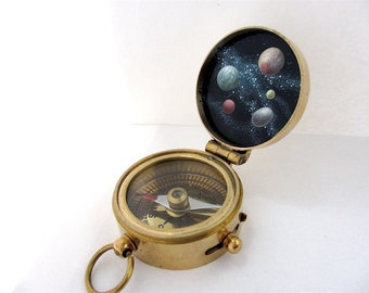 Dwarf Planets Compass Hand-Painted in Enamel - Brass Pocket Compass with Secret Artwork Inside