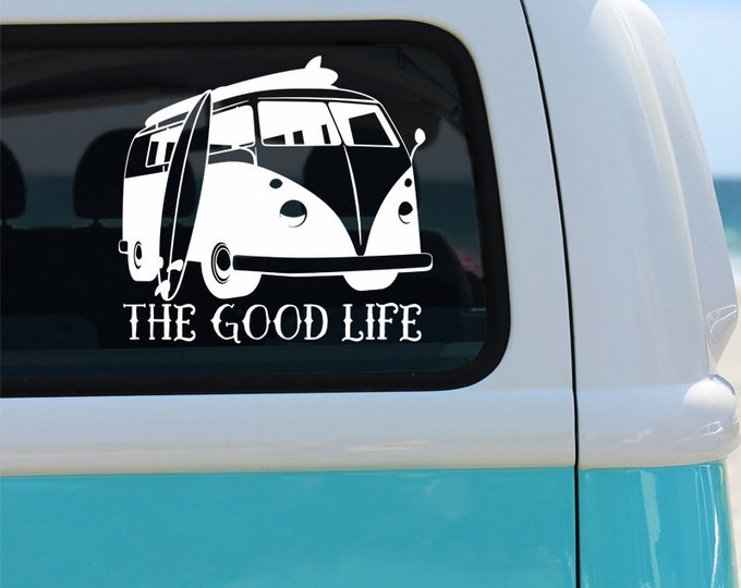 Van Vinyl Window Decal -  Cat Sticker - Car Decal - The Good Life Van Decal - Decal - Vinyl Decal - Hippie Decal - Surfer Decal - Van Decal
