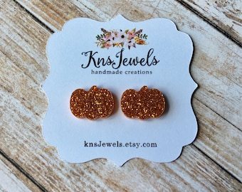 Pumpkins, Pumpkin Earrings, Custom Earrings, Studs, 12mm Studs, Druzy Earrings, Halloween, October, Fall Earrings