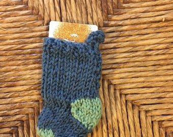 Unique Gift Card Holder, min xmas stocking fits gift card, blue and green, holiday ornament, hand knit tiny stocking ornament, handmade