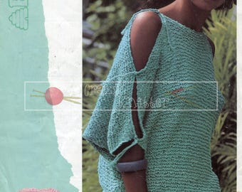 Lady's Dolman Summer Sweater Chunky 32-48in Patons 7416 Vintage Knitting Pattern PDF instant download