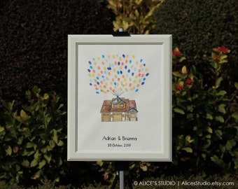 Custom House Portrait - Wedding Guest Book Alternative Flying House - Hand-drawn Original Art - Fingerprint & Signature