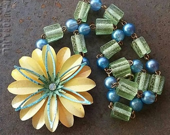 A Sunny Yellow Multiple Petaled flower Necklace  from Wendy Baker