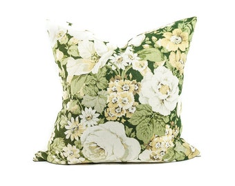 Vintage green botanical pillow cover