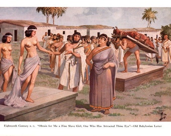 Ancient Mesopotamia,Prosperous Babylonian Matron Shops for a Slave Girl in Eshnunna, Original 1950s illustration